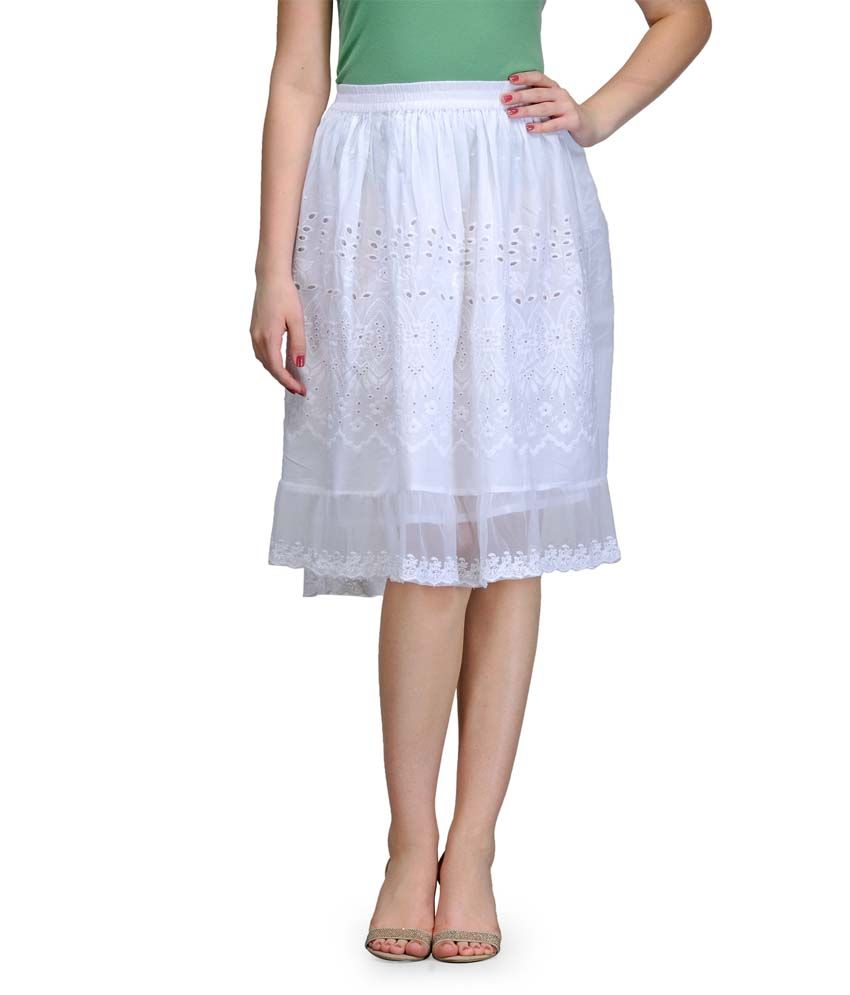 b6fdf36b7 Buy India Inc White Cotton Midi Skirt Online at Best Prices in India -  Snapdeal