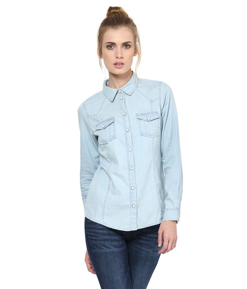 Only Blue Cotton Shirts