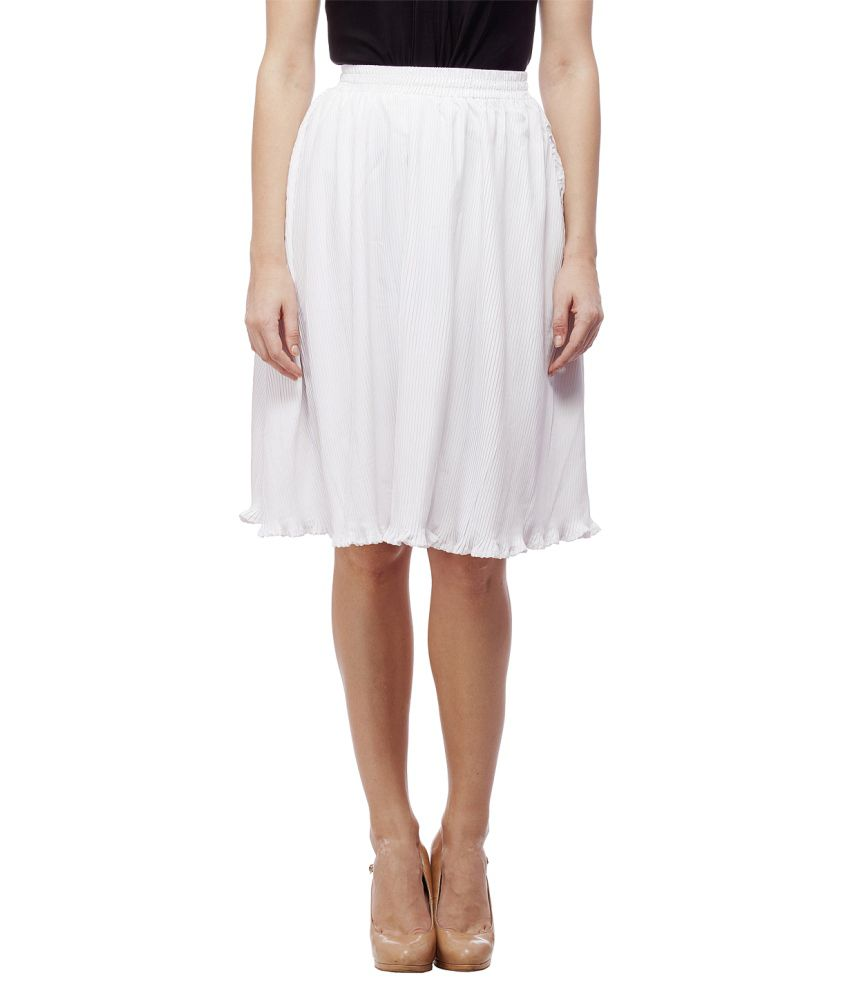 buy peptrends white polyester pleated skirt at best