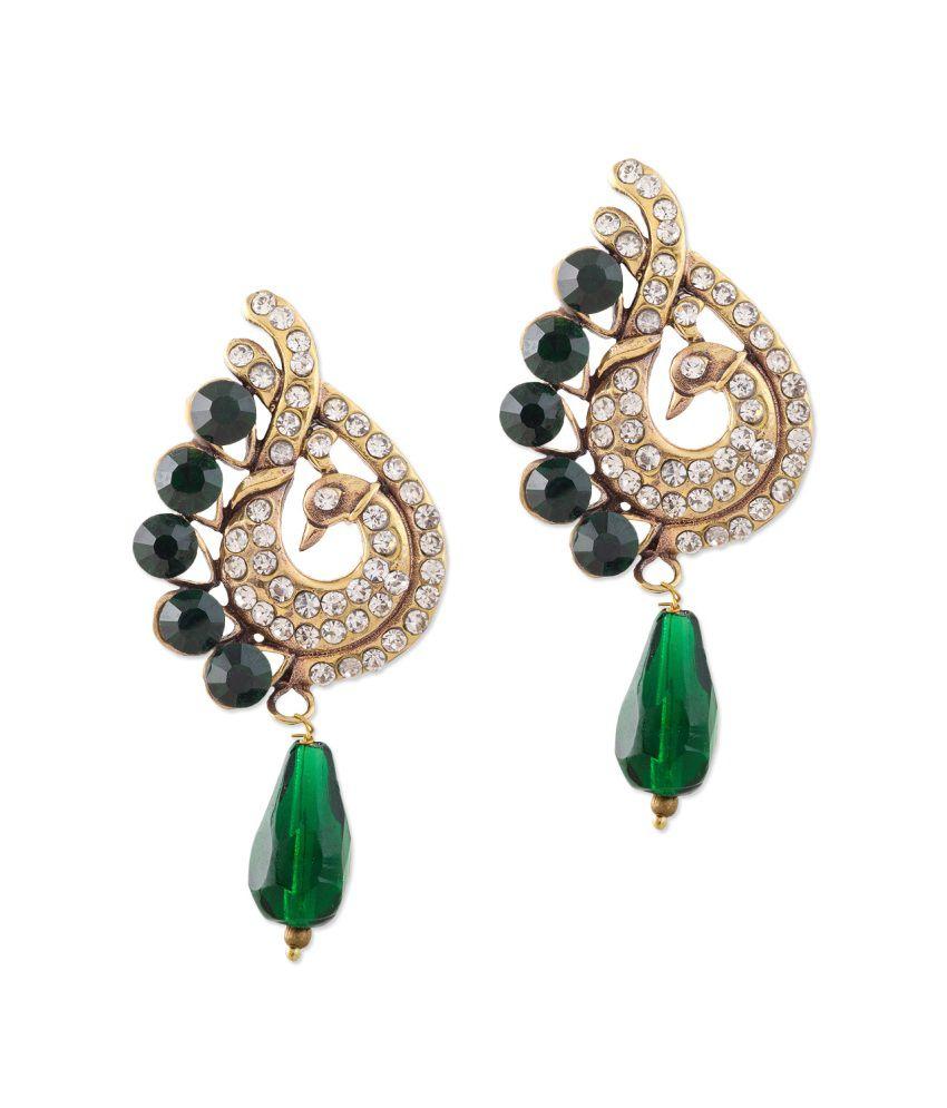 Sudharaj Green Brass Hangings Earrings