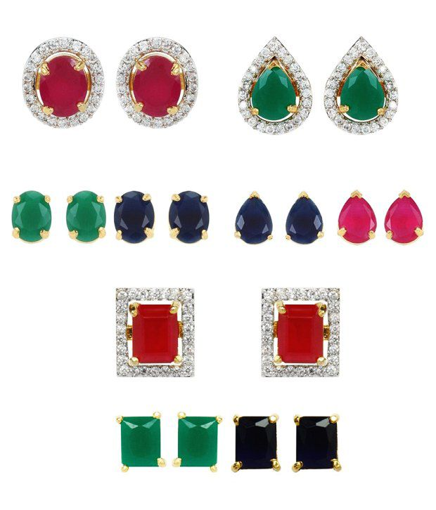 Youbella Multicolour Alloy Stud Earrings - Set Of 3