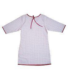 Little Throne White & Red Kurti For Girls
