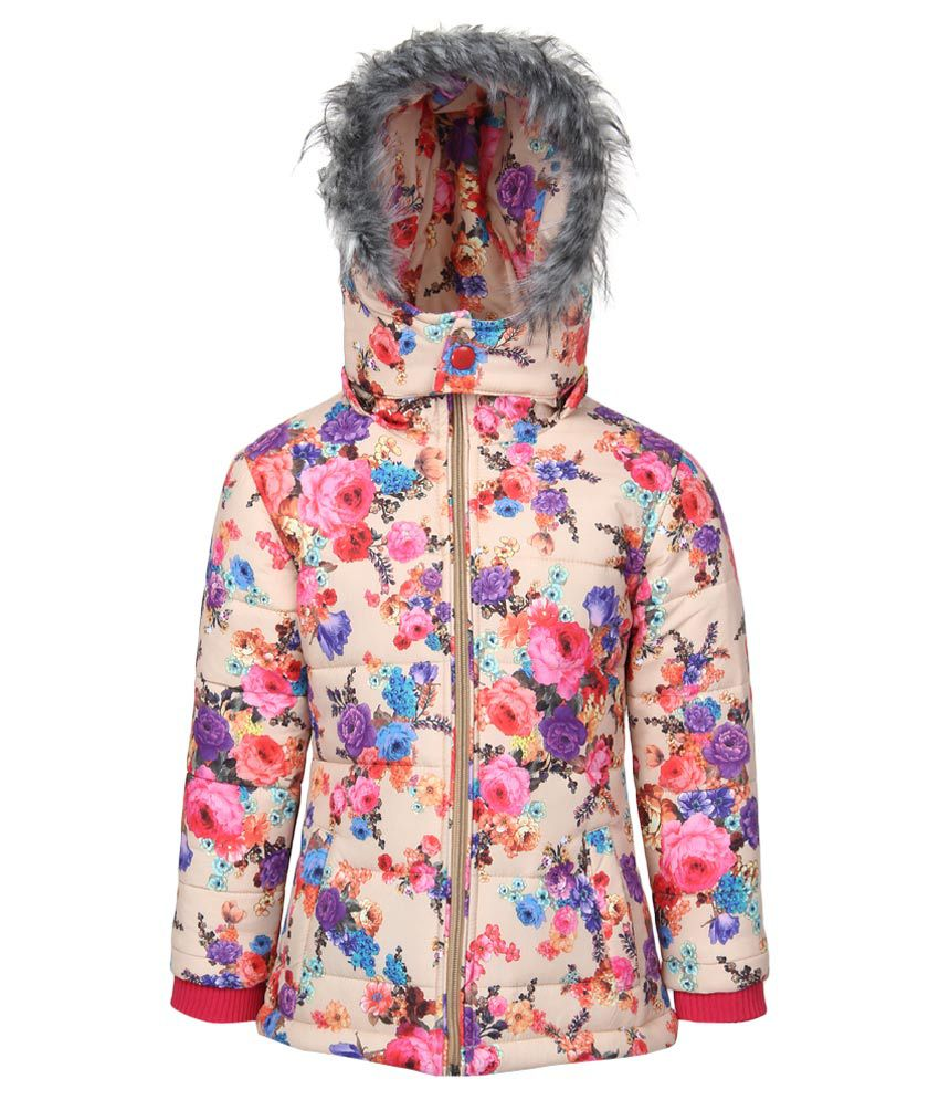 Fort Collins Beige Floral Printed Nylon Hooded Jacket