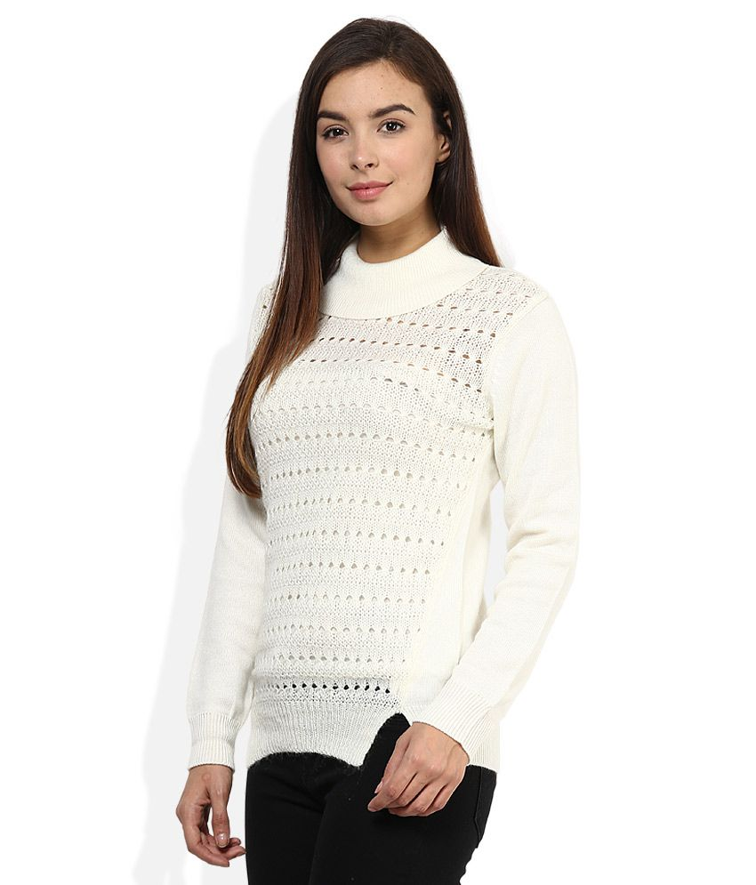 ea26ef552e Buy Madame White High Neck Sweater Online at Best Prices in India - Snapdeal