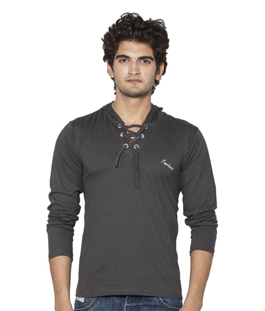 Stylogue Gray Cotton Hooded Men's T-Shirt