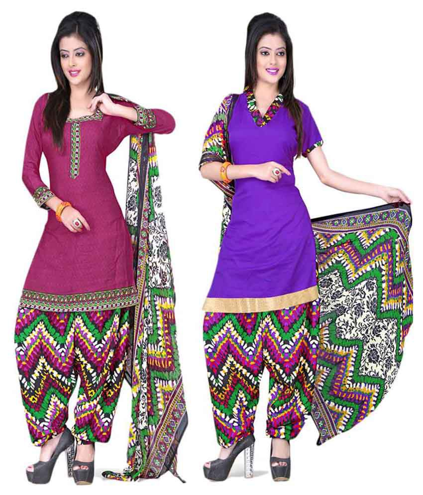 Jiya Pink Art Crepe Unstitched Dress Material