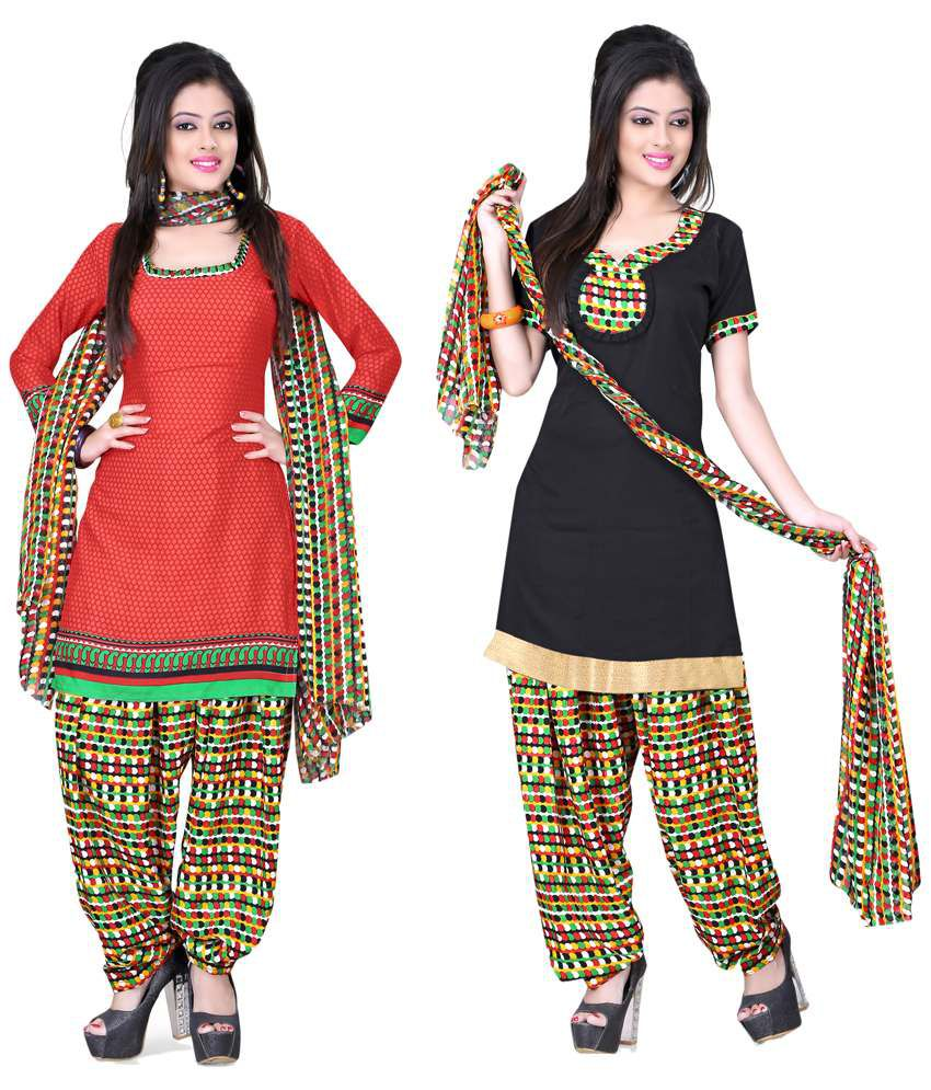 Jiya Red Art Crepe Unstitched Dress Material