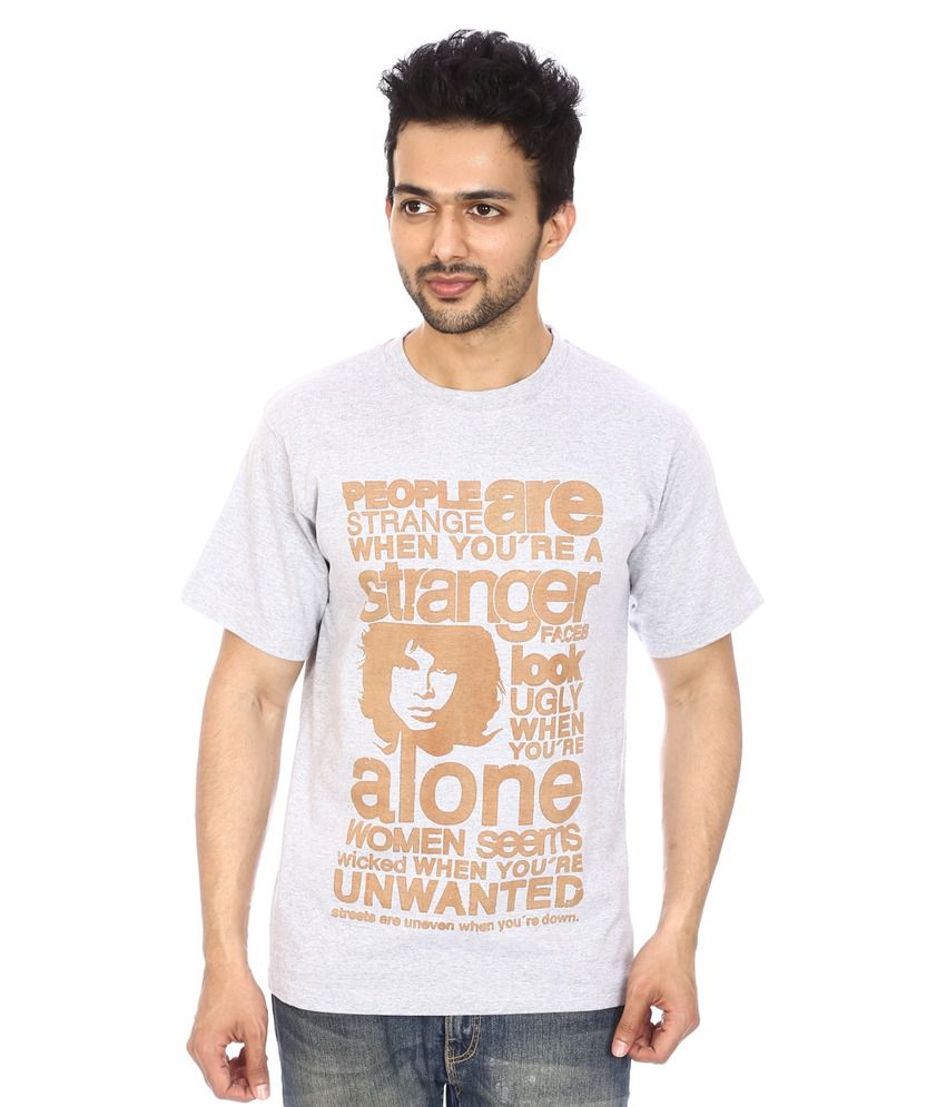 Attitude21 Grey Cotton Blend Round Neck T Shirt