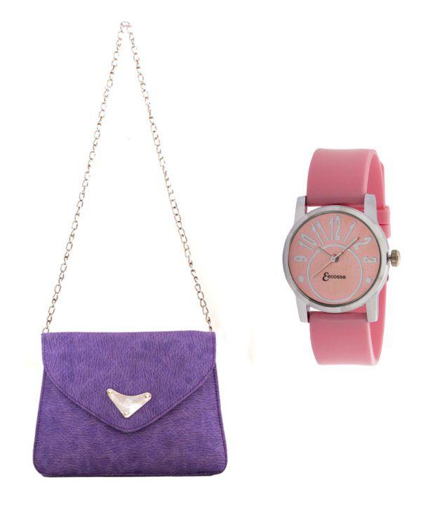 Eecosse Purple Clutch With Wrist Watch
