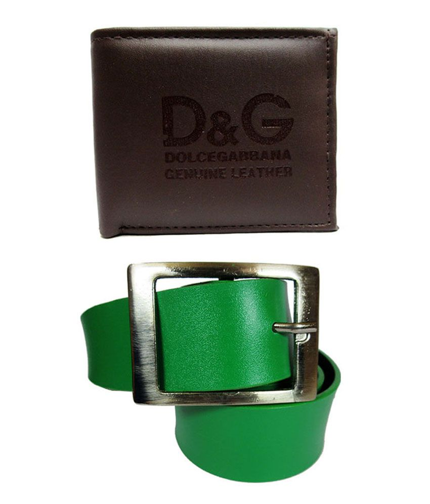 Apki Needs Green Pin Buckle Belt with Brown Wallet - Pack of 2