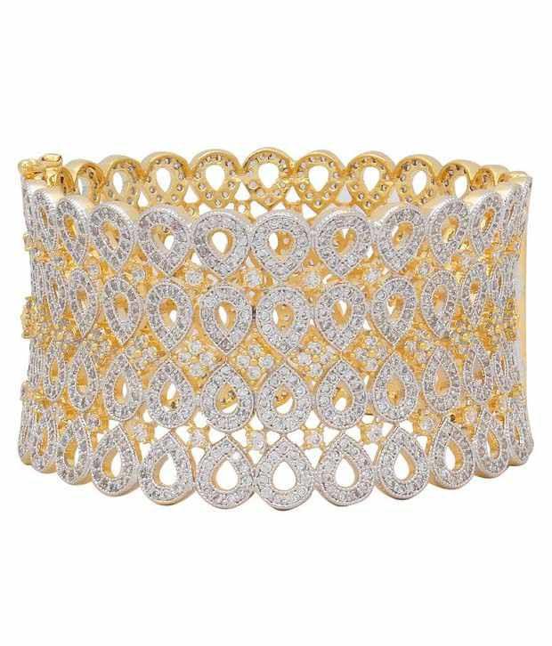 Jewels Gehna Golden American Diamond Designer Kada