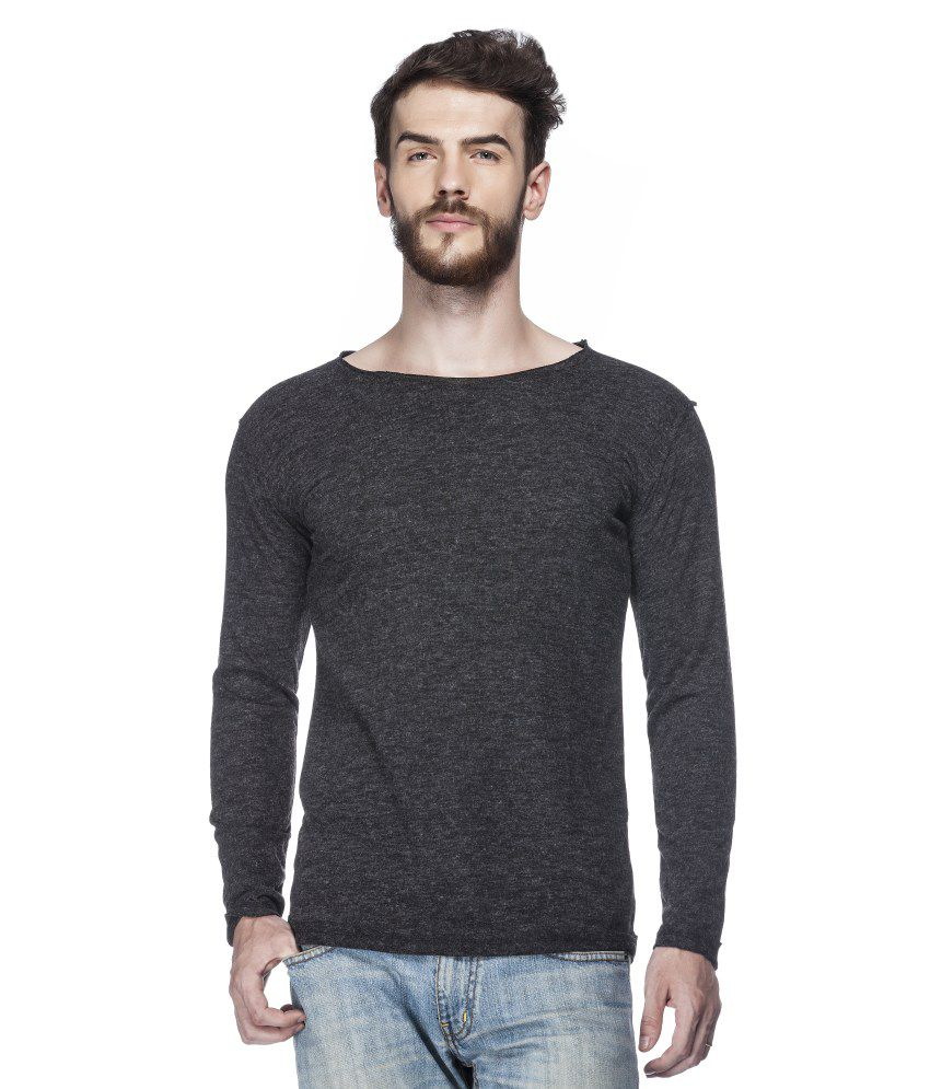 Tinted Black Blended Cotton Solid Round Neck T-shirt