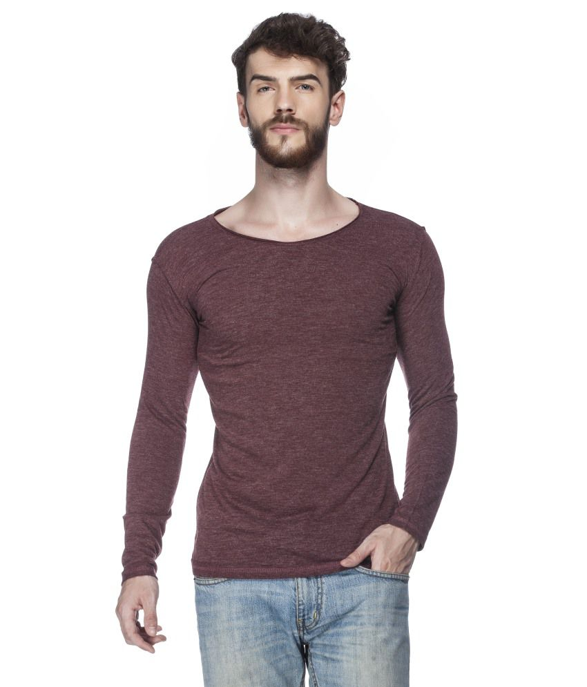 Tinted Maroon Blended Cotton Solid Round Neck T-shirt