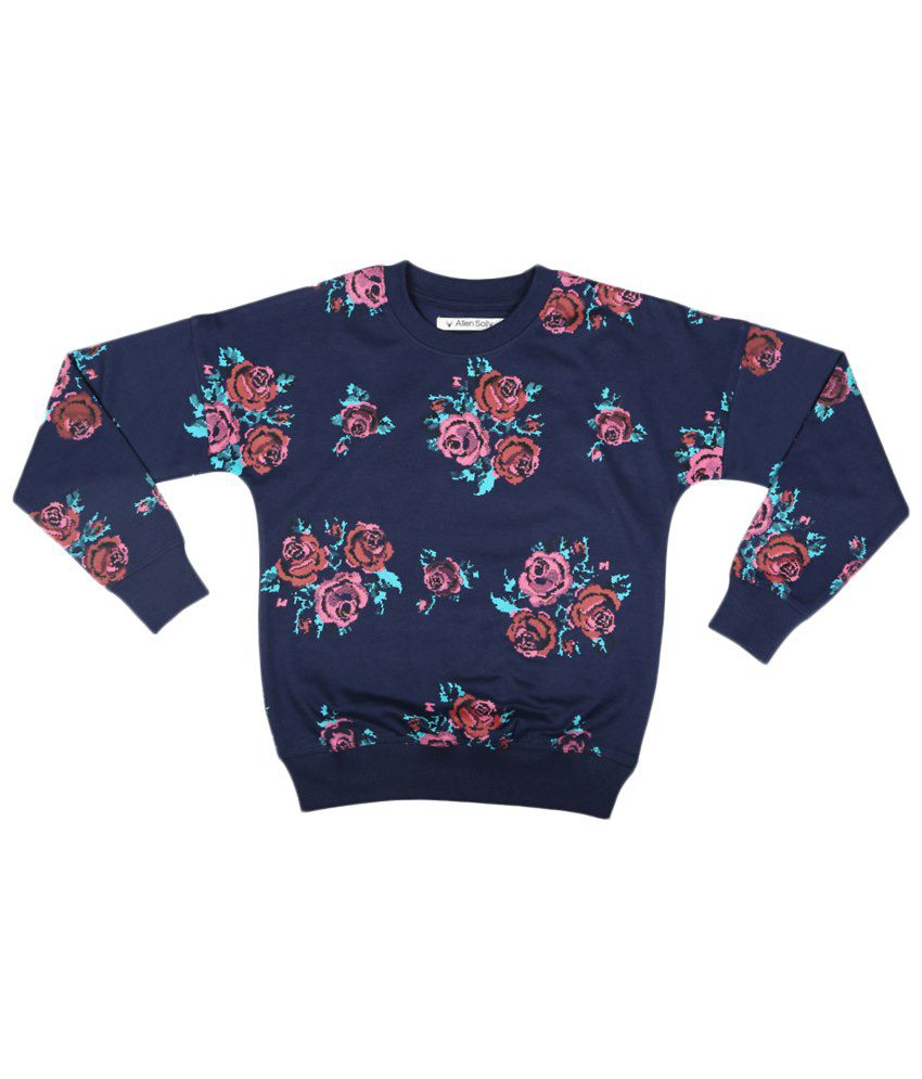 Allen Solly Navy Blue & Pink Sweatshirt