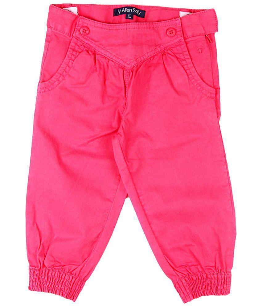 Allen Solly Pink Cotton Capris