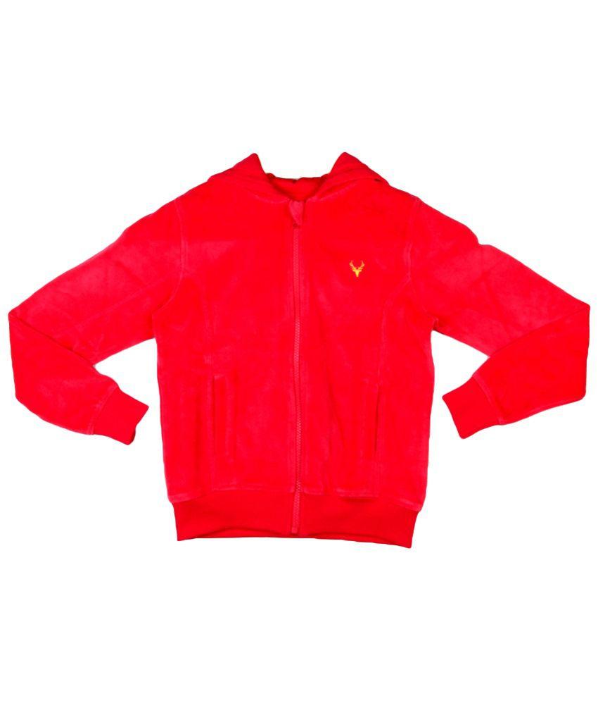 Allen Solly Red Zippered Hooded Sweatshirt