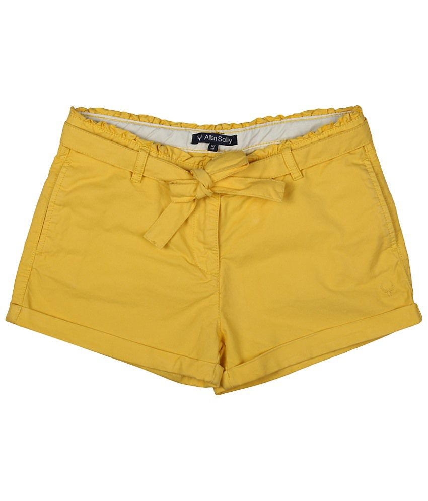 Allen Solly Yellow Cotton Shorts