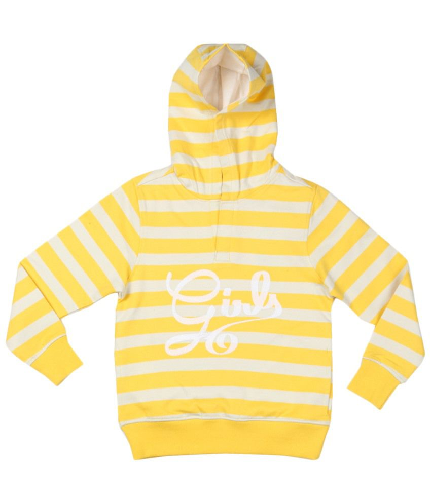 Allen Solly Yellow & White Hooded Sweatshirt