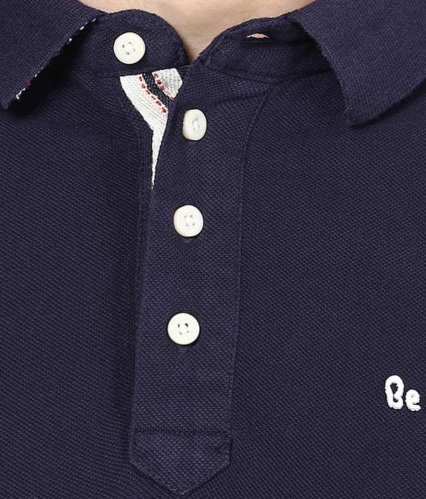 Human design t shirt -  Being Human Navy Blue Solid Polo T Shirt