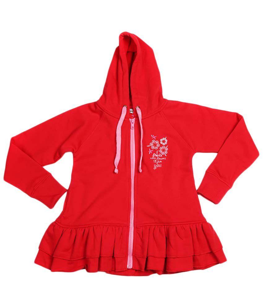 People Red Zippered Hooded Sweatshirt