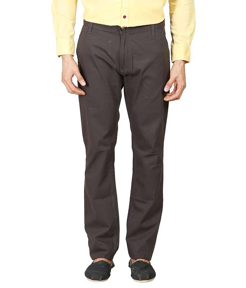 Blumerq Grey Regular Fit Casual Flat Trousers