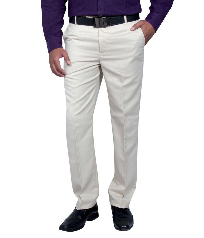 Febulous Off White Regular Flat Trouser
