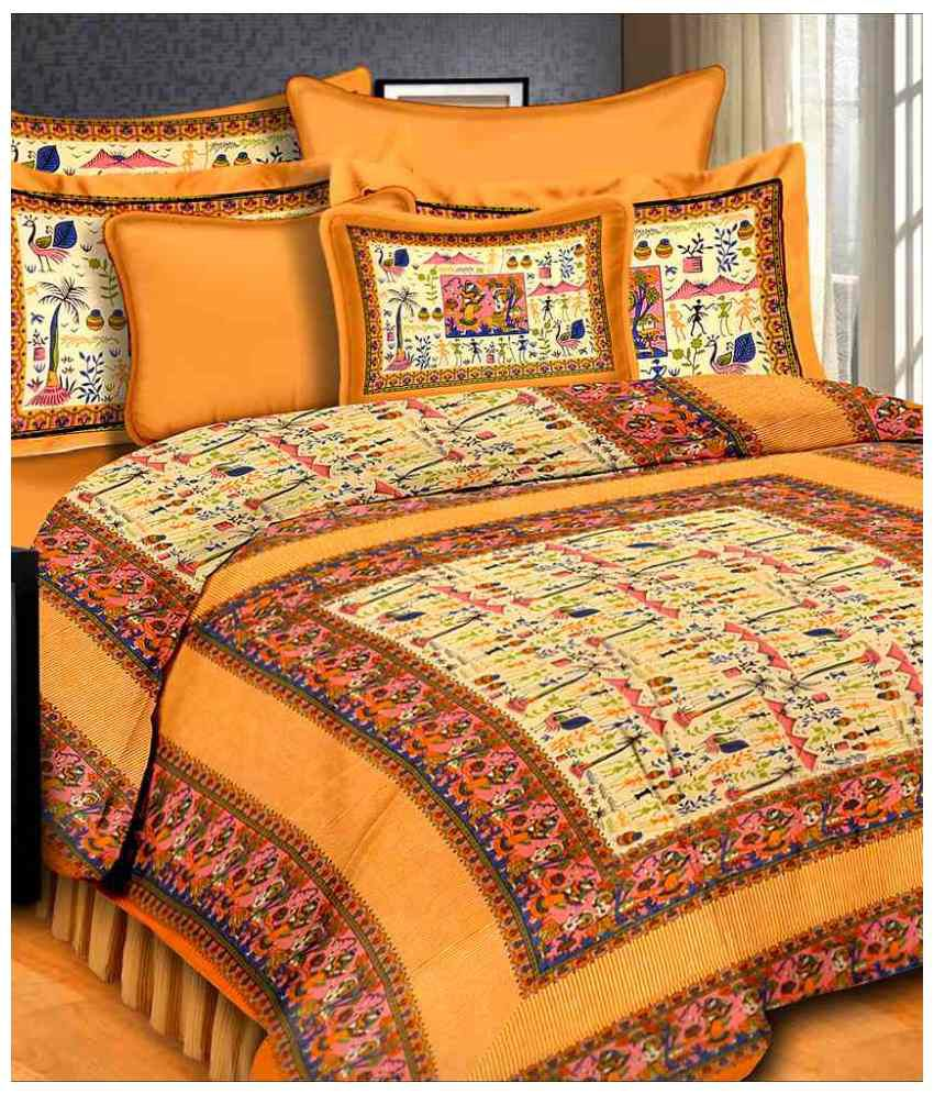 Kismat Collection 100% Cotton Jaipuri Printed & Tradtional Double King Size Bed Cover With 2 Pillow Cover