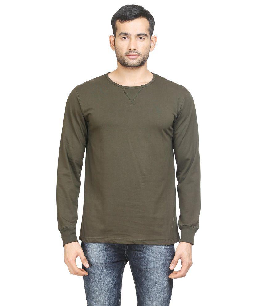 Poshuis Green Solid Men's Round Neck T-Shirt