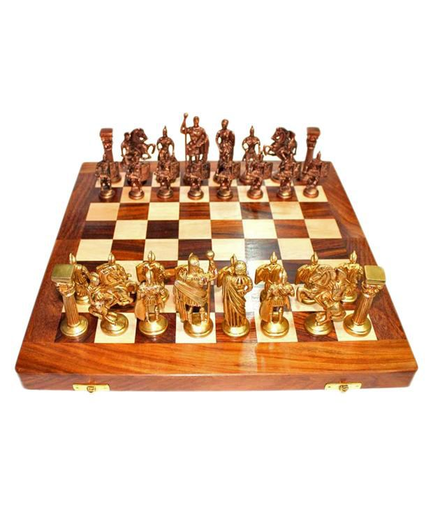 Prime Decor Vintage Roman Brass Chess with Folding Box