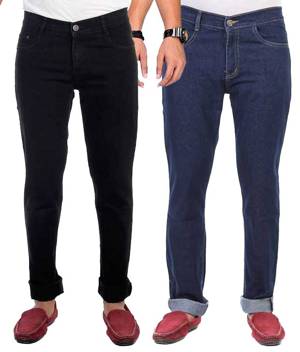 AVE Blue And Black Regular Fit Jeans - Pack Of 2