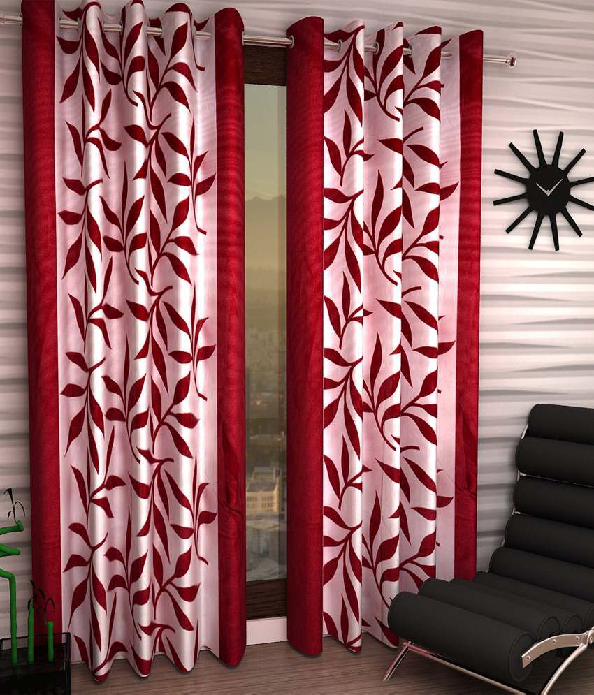 Home Sizzler Set Of 2 Door Eyelet Curtains Floral Red