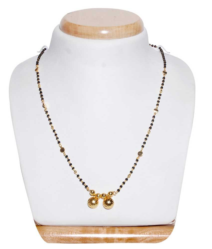 Karigari Fashions Long Mangalsutra With A Golden Pendent-black