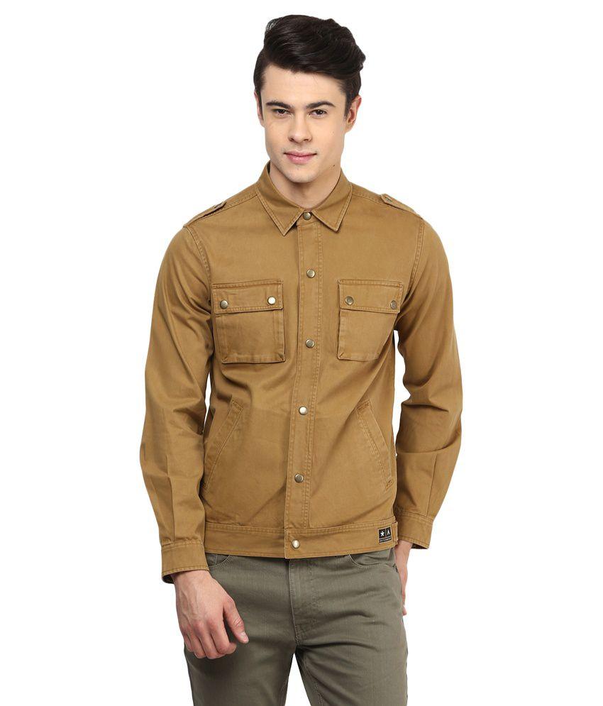 Atorse Brown Cotton Jacket