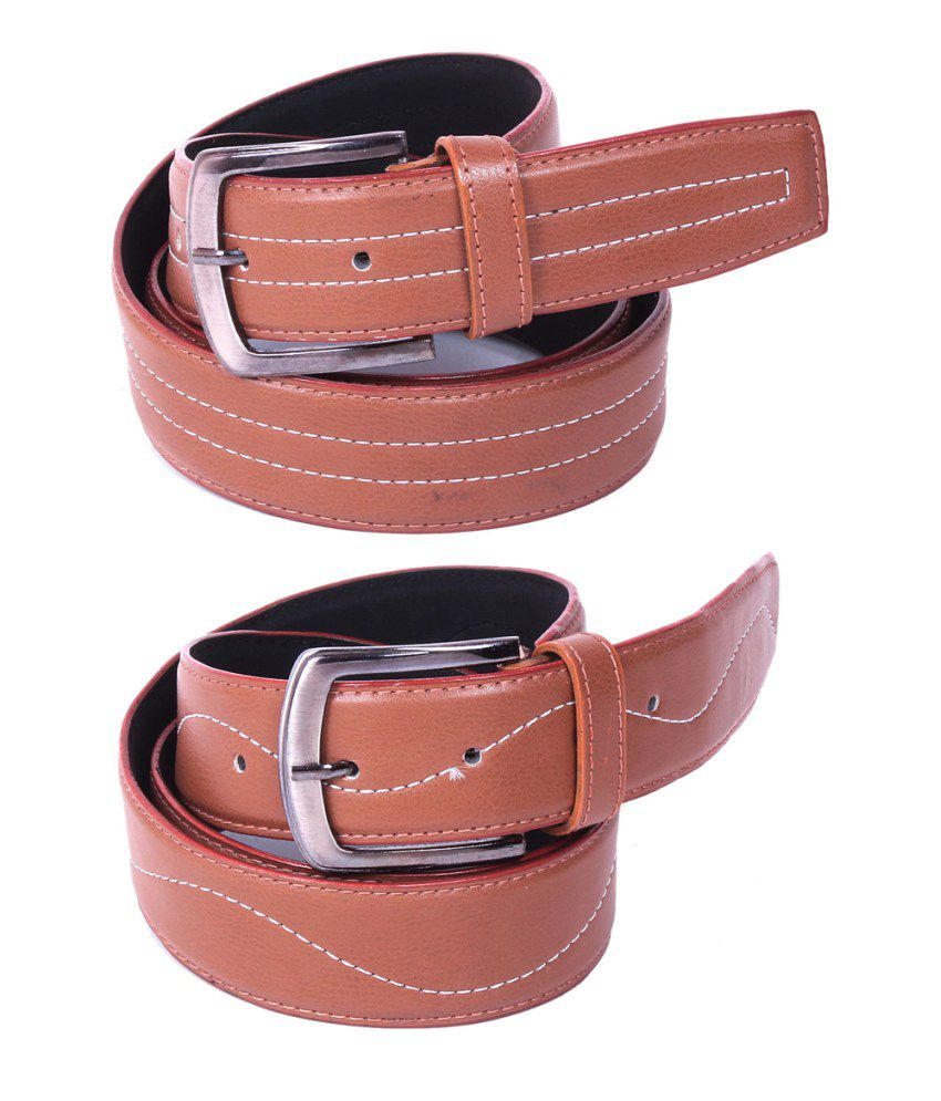 Calibro Combo of Tan Non Leather Belts