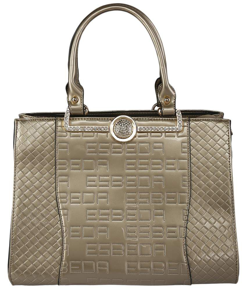 Esbeda Golden Zippered Satchel Bag