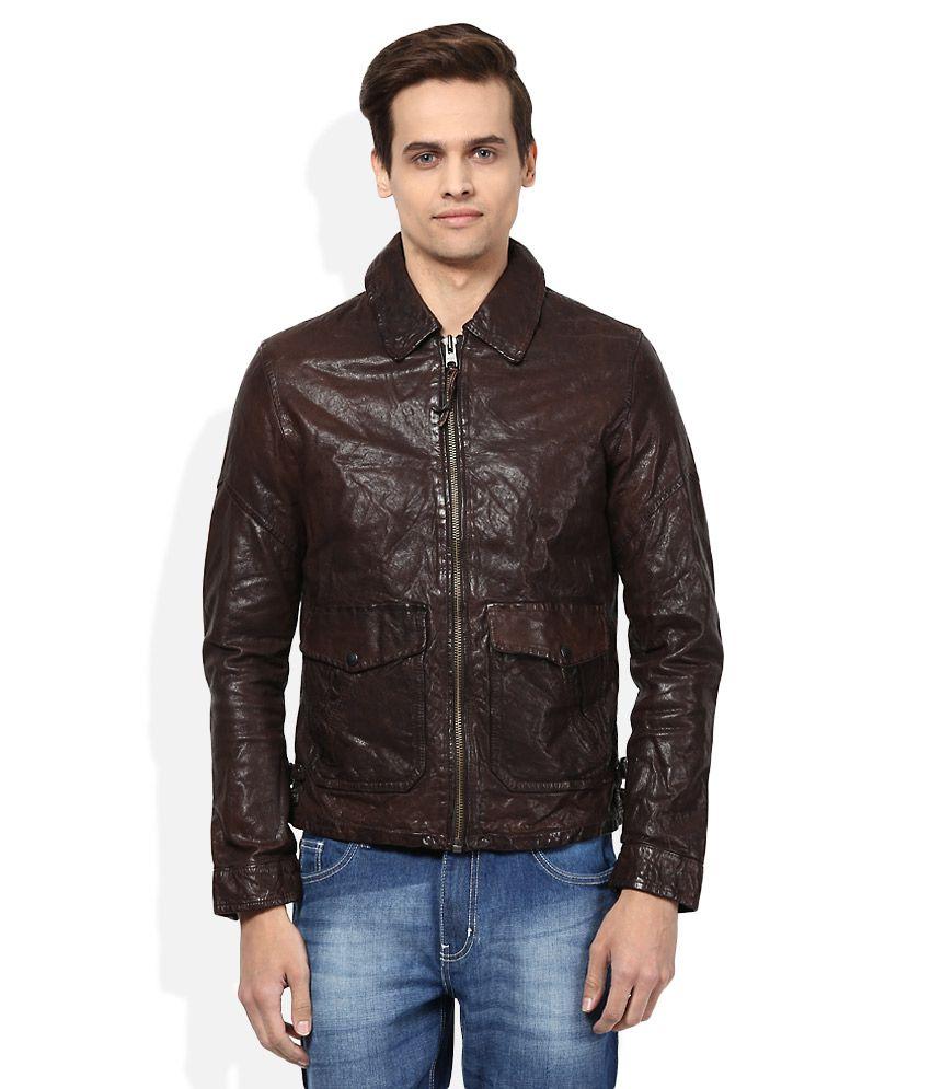 Jack & Jones Brown Full Sleeves Winter Jacket