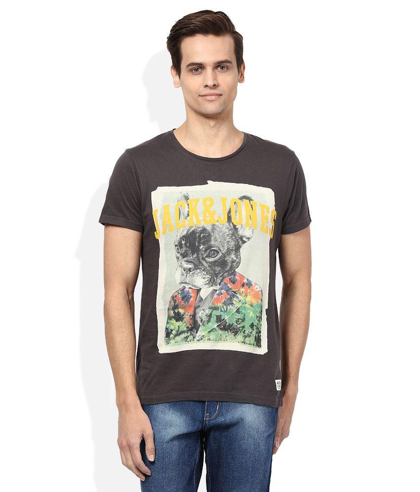Jack & Jones Brown Round Neck Half Sleeves Printed T-Shirt