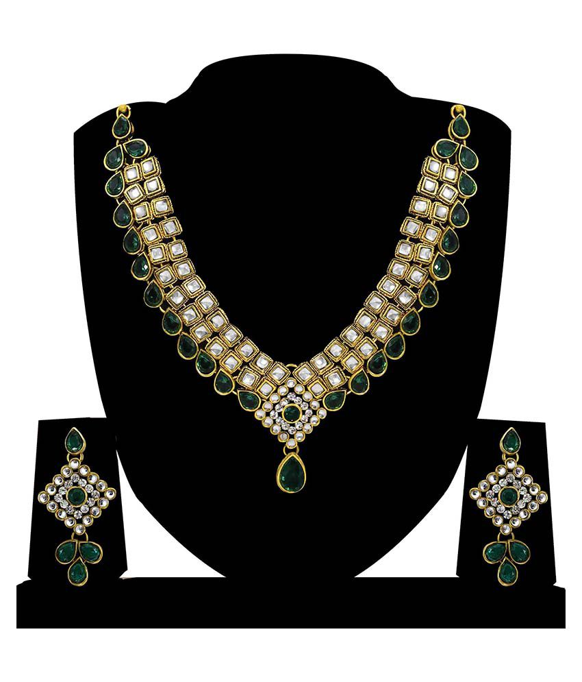 Zaveri Pearls Green Alloy Designer Necklace Set