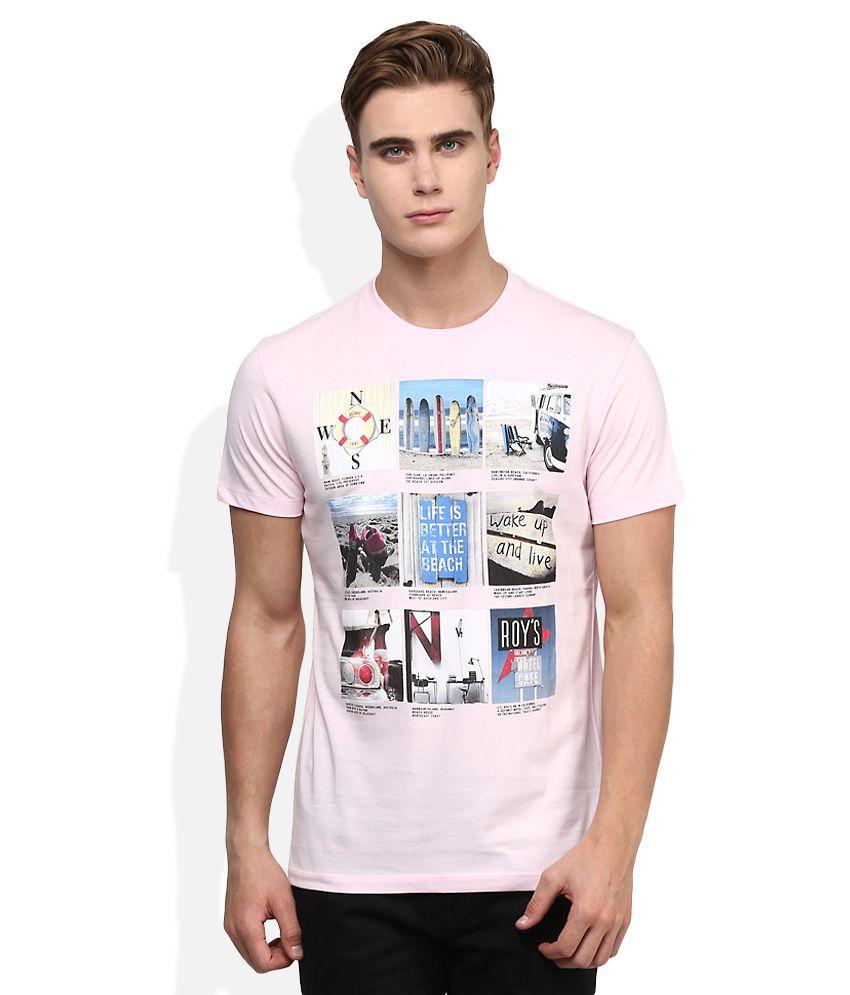 Octave Pink Printed T-Shirt