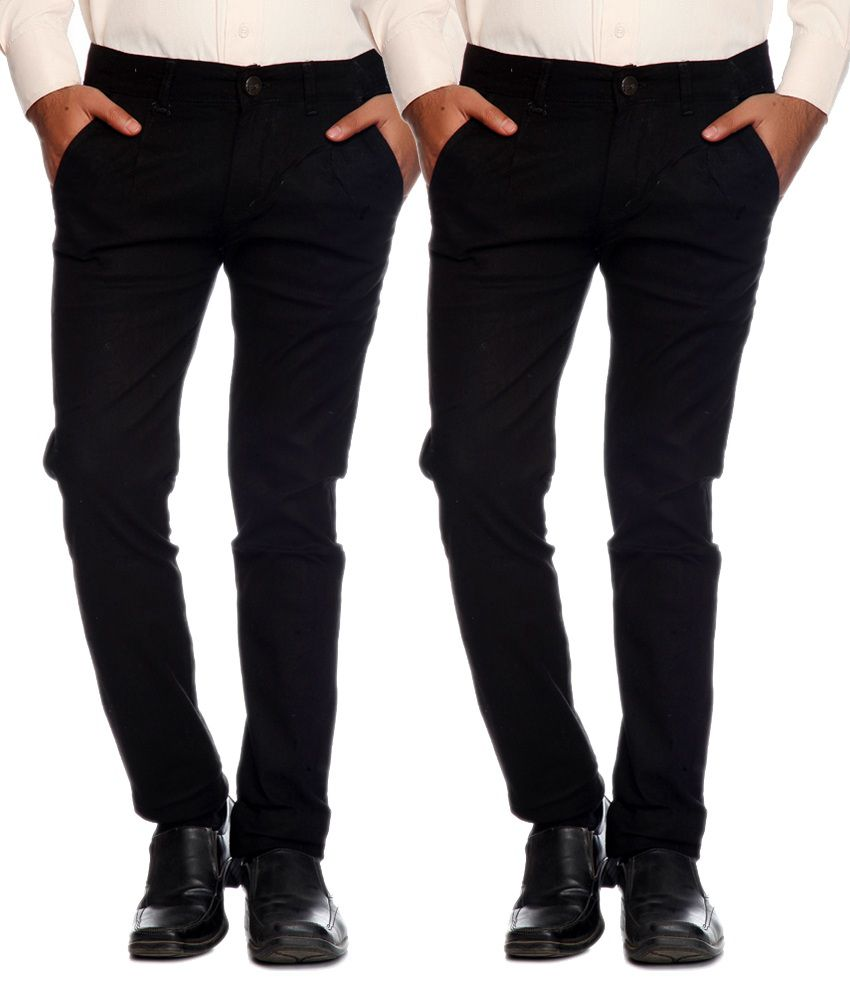 AVE Black Slim Fit Formal Pack of 2 Chinos