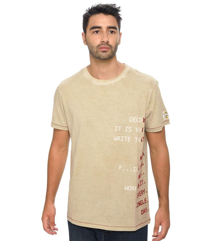 Be Pure Beige Cotton T-shirt