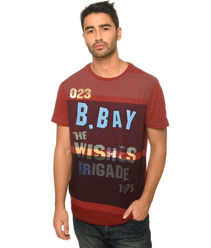 Be Pure Maroon Cotton T-shirt