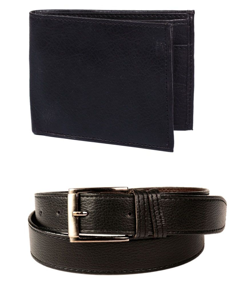 Calibro Combo Of Black Formal Belt And Wallet For Men