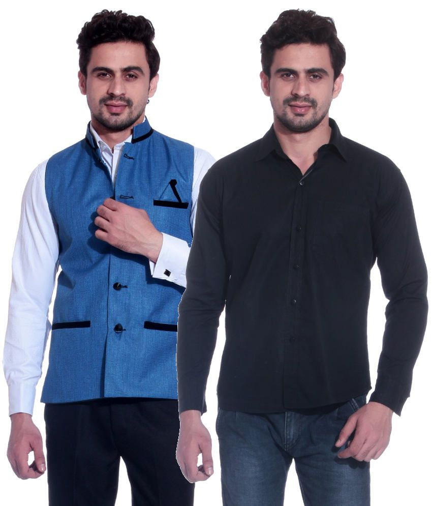Blue Shirt White Collar Black Suit   ANLIS