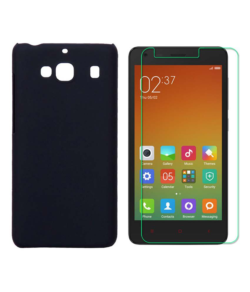 new style 35d21 11f0c Praiq Hard Shell Back Cover Case For Xiaomi Redmi 2 Prime With Tempered  Glass - Black