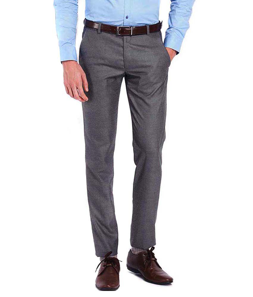 AD & AV Grey Regular Fit Formal Flat Trouser