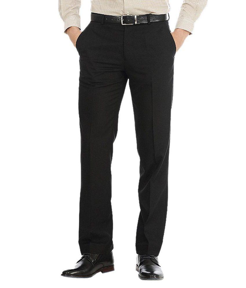 Ad & Av Black Regular Fit Formal Flat Trousers