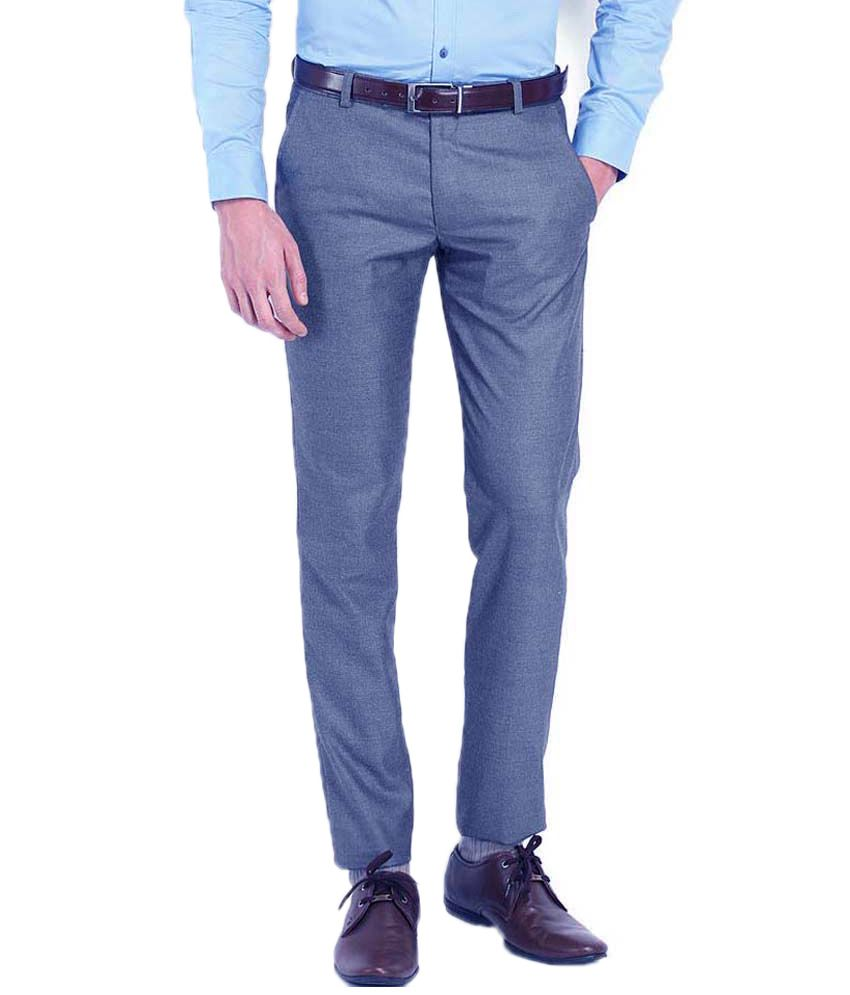 Ad & Av Blue Regular Fit Formals Flat Trousers