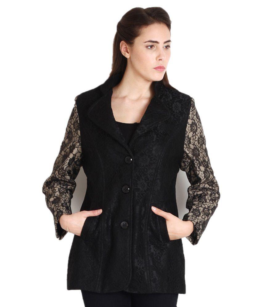 Intense Black Cotton Blend Jackets