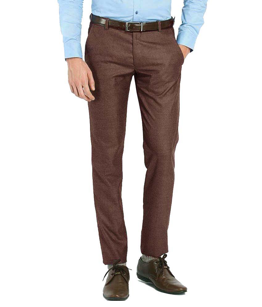 Ad & Av Brown Regular Fit Formal Flat Trousers